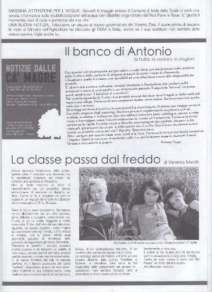 un articolo di una rivista con scritto il banco di Antonio e La classe passa dal freddo
