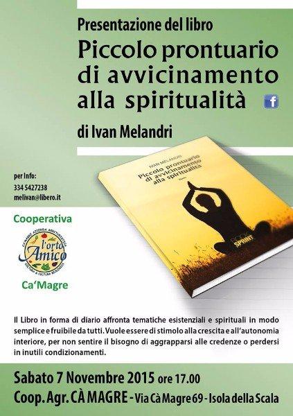 una locandina della presentazione del libro di Ivan Melandri Piccolo prontuario di avvicinamento alla spiritualità '