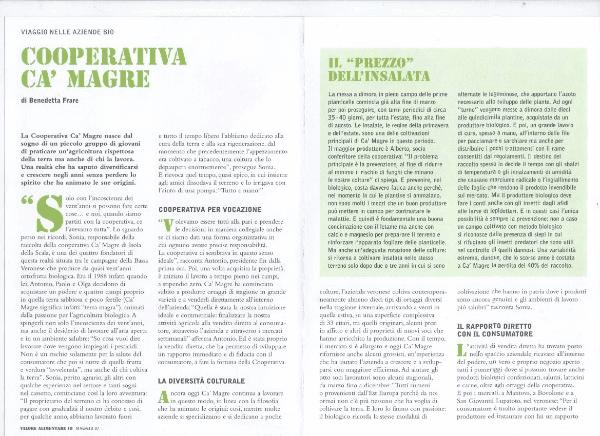 un paragrafo di una rivista riguardante la Cooperativa Ca' Magre