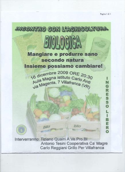 una locandina con scritto incontro con l'agricoltura biologica