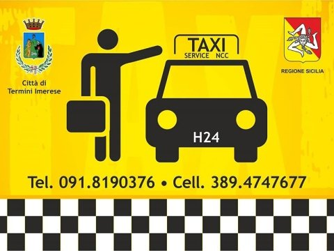 Locandina di noleggio taxi e NCC