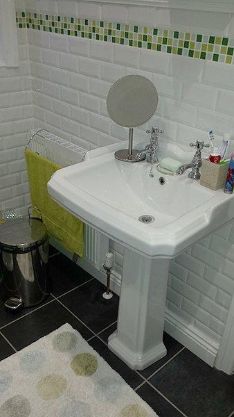 white sink installed