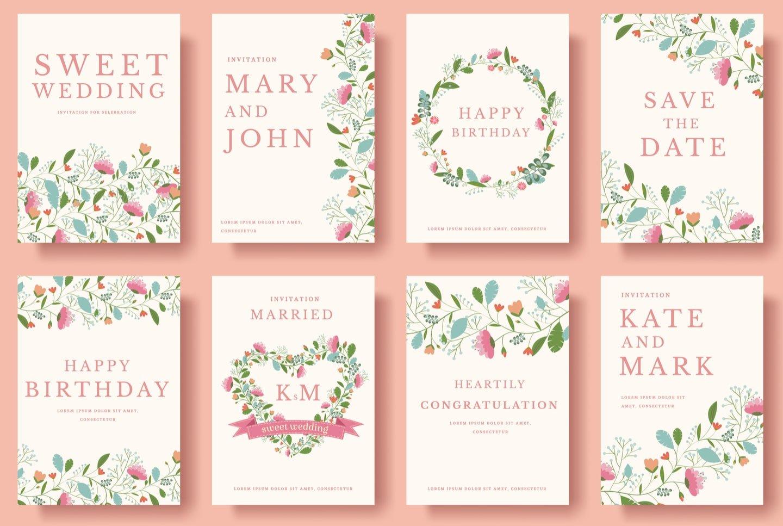 otto differenti modelli di inviti matrimoniali