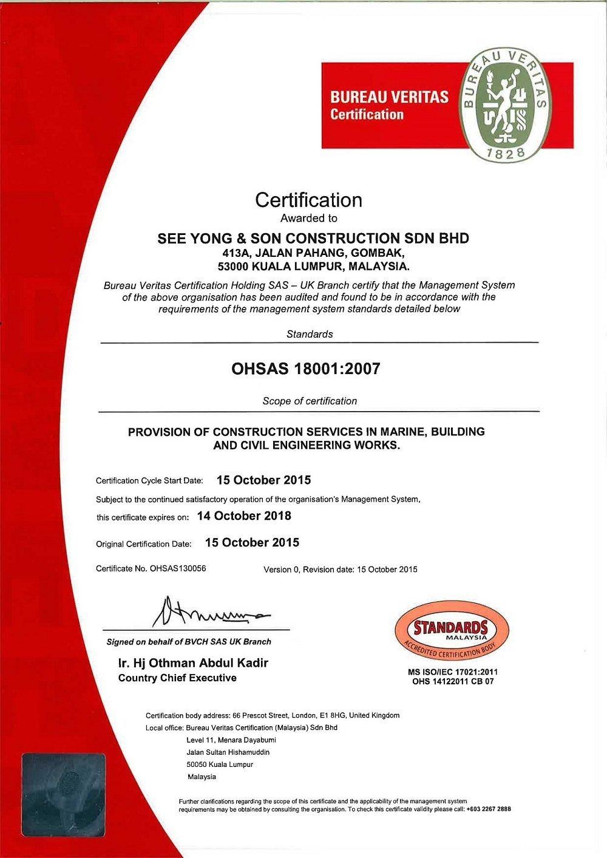 Sys Ohsas Certification By Bureau Veritas