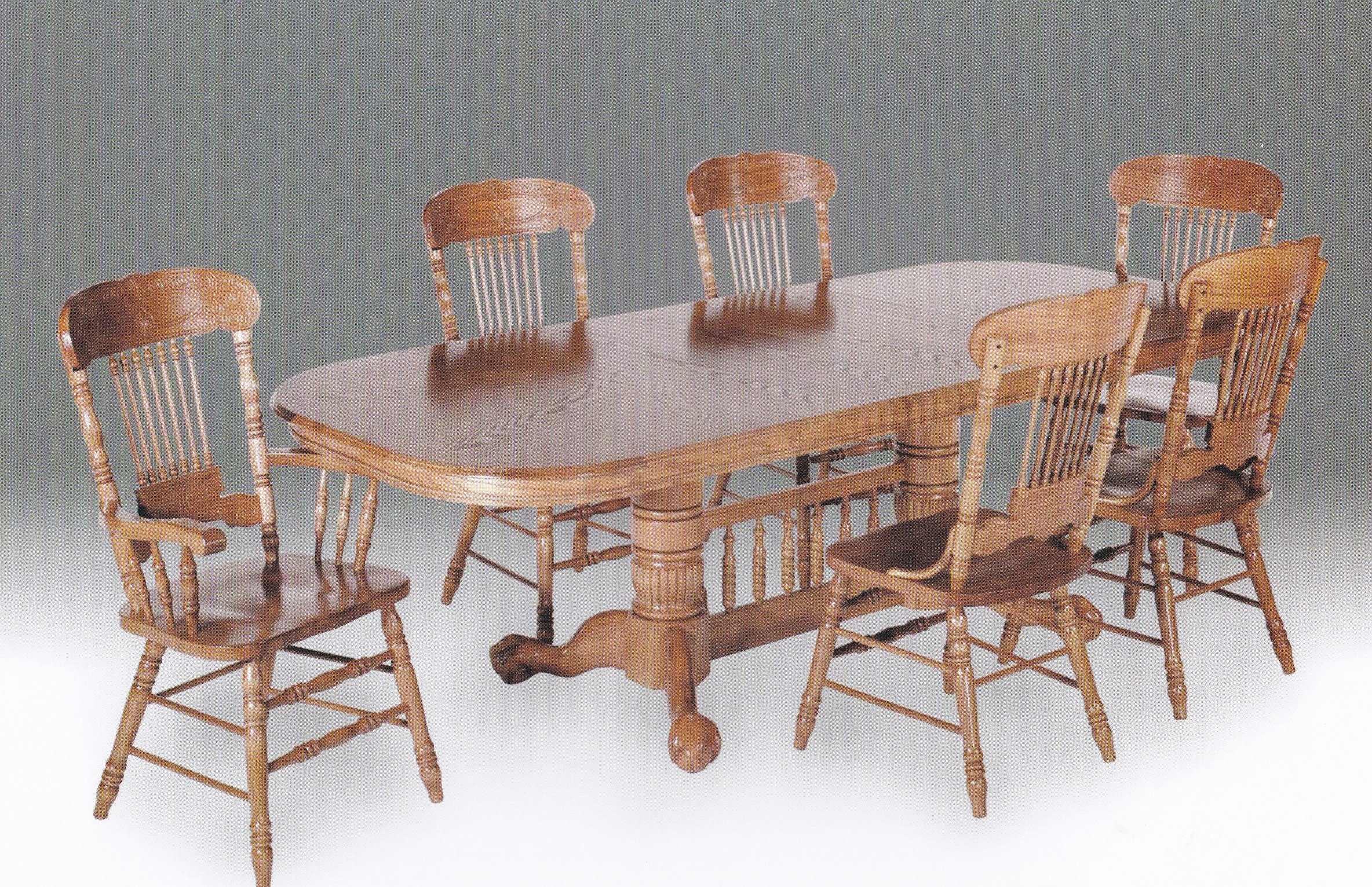 kith 996 marion county ball u0026 claw double pedestal table with two 18u2033 leaves 6 embossed side chairs