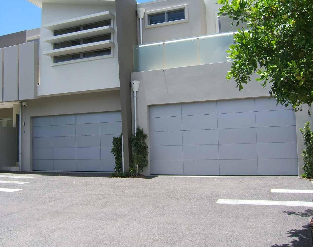 silver composite garage door