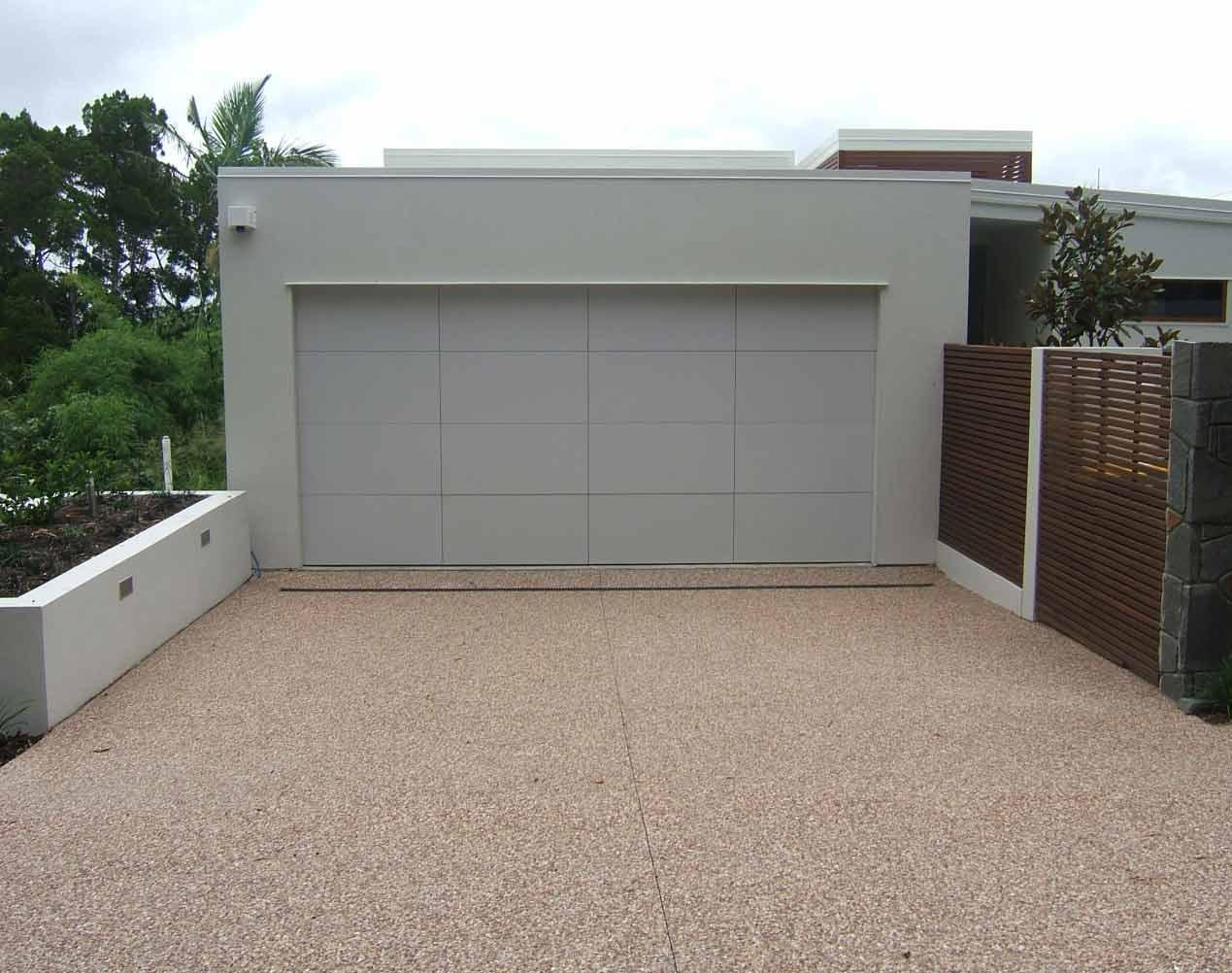 white aluminum section garage door