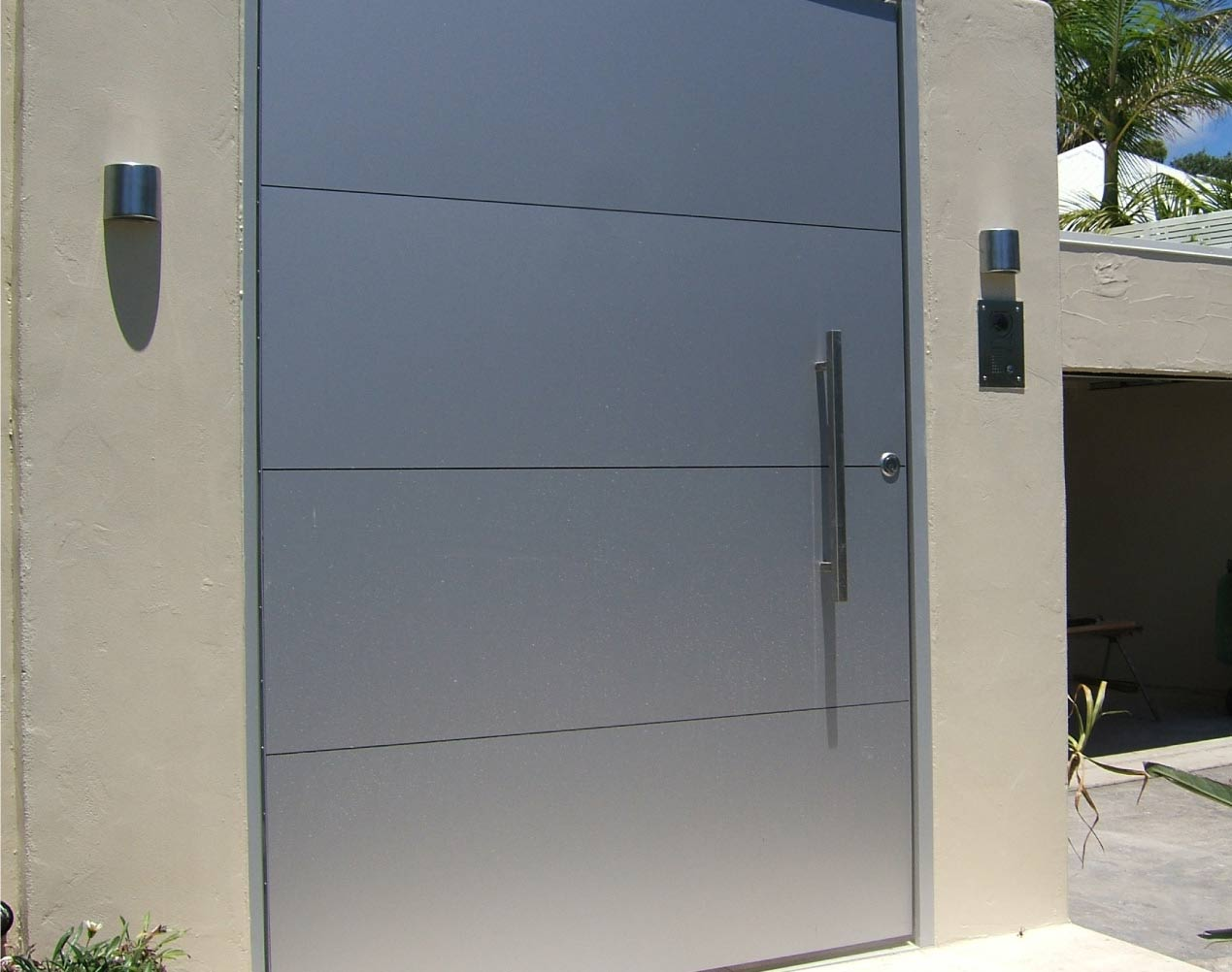 silver aluminum composite entrance gate