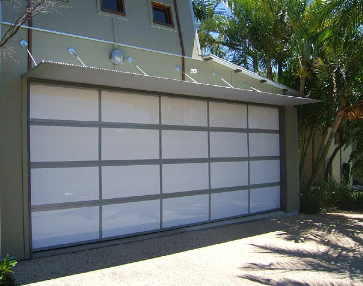 white perspex with powder coated frame sectional garage door