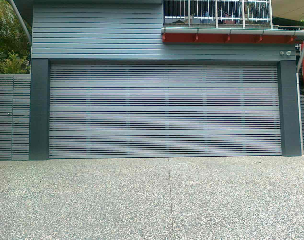 slatted sectional garage door