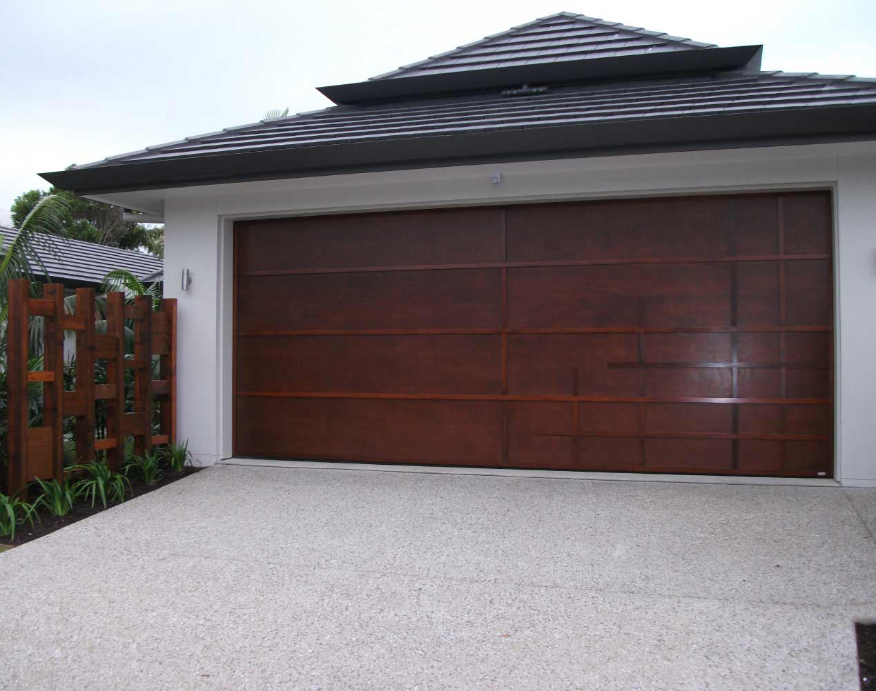 marine ply with western red cedar battens sectional garage doors
