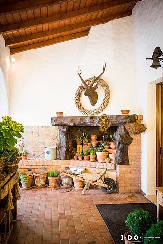 fireplace area decorated with flower pots