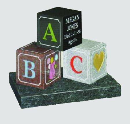 ABC inscribed headstone