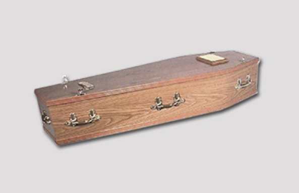 off-brown wood effect coffin