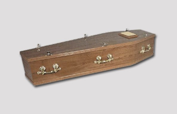 brown wood effect coffin