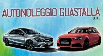 un biglietto con scritto Autonoleggio Guastalla SRL e l'immagine di una Mercedes e un'Audi