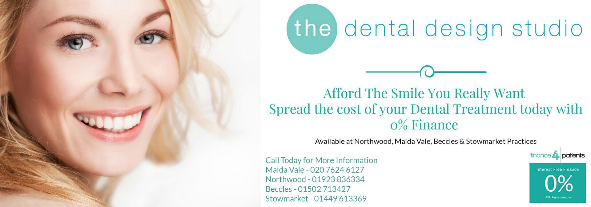 blonde woman smiling on dental design studio banner