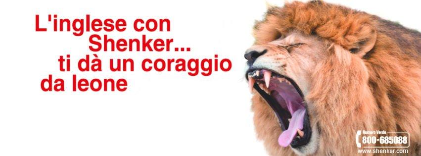 un'immagine di un leone e la scritta l' inglese con Shenker..ti da' un coraggio da leone