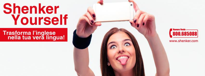 una ragazza con con uno smartphone mentre si fa un selfie e la scritta Shenker Yourself
