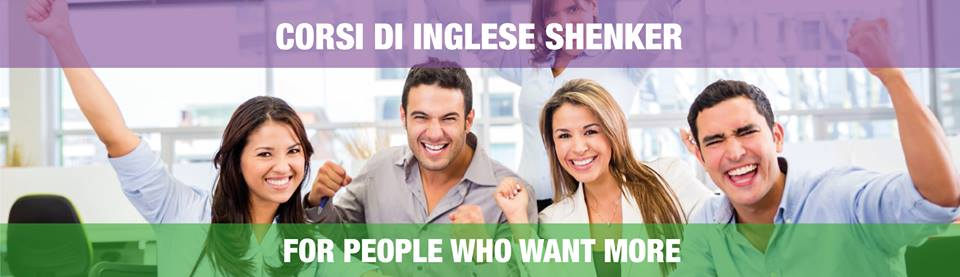 delle persone contente e la scritta corsi di inglese Shenker for people who want more