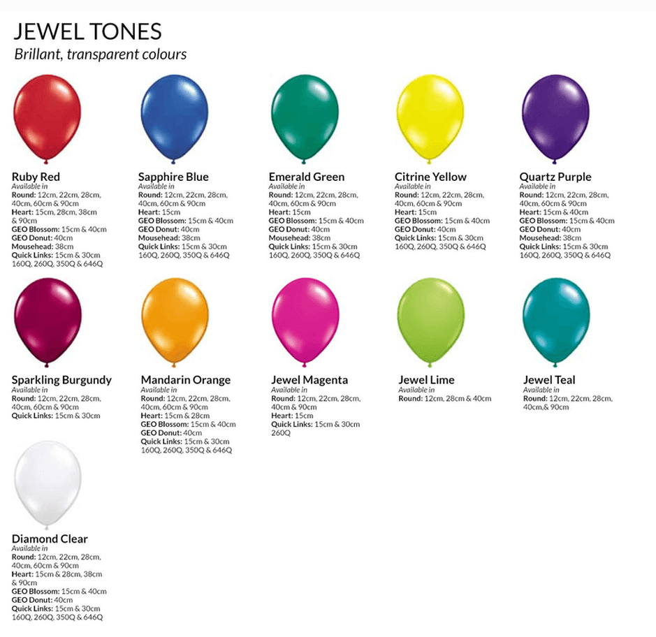 Latex balloon colours we stock latex balloons in 5 11 16 24 30 36 4ft and 5ft ccuart Image collections