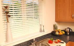 White horizontal kitchen blinds