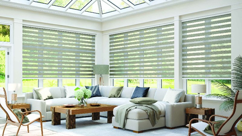 Stylish horizontal blinds over the windows in a living room