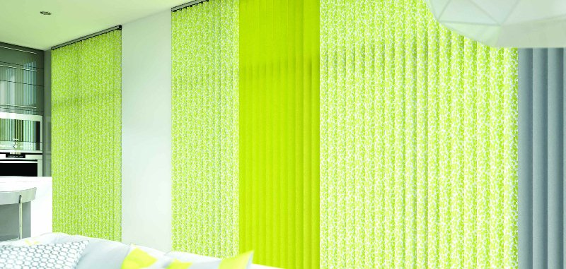 Vertical, bright green blinds