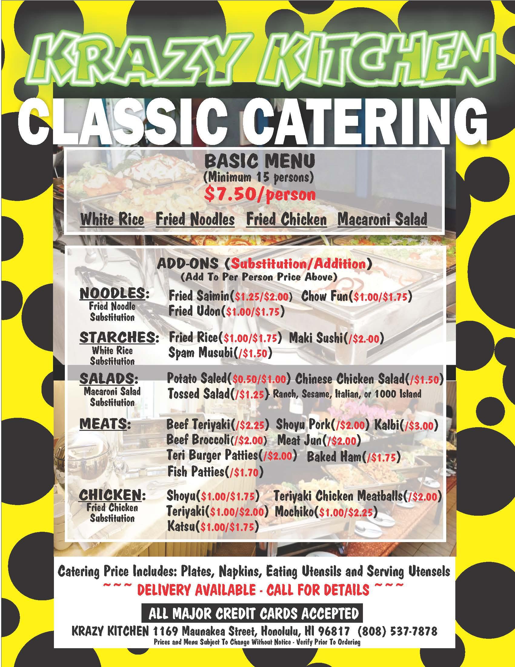 Krazy Kitchen menu classic catering