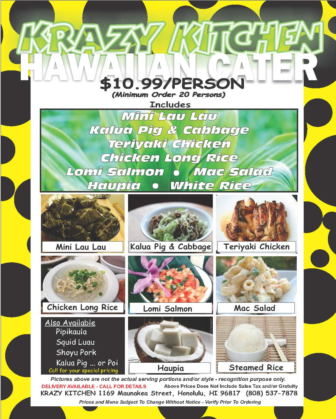 Krazy Kitchen menu Hawaiin catering