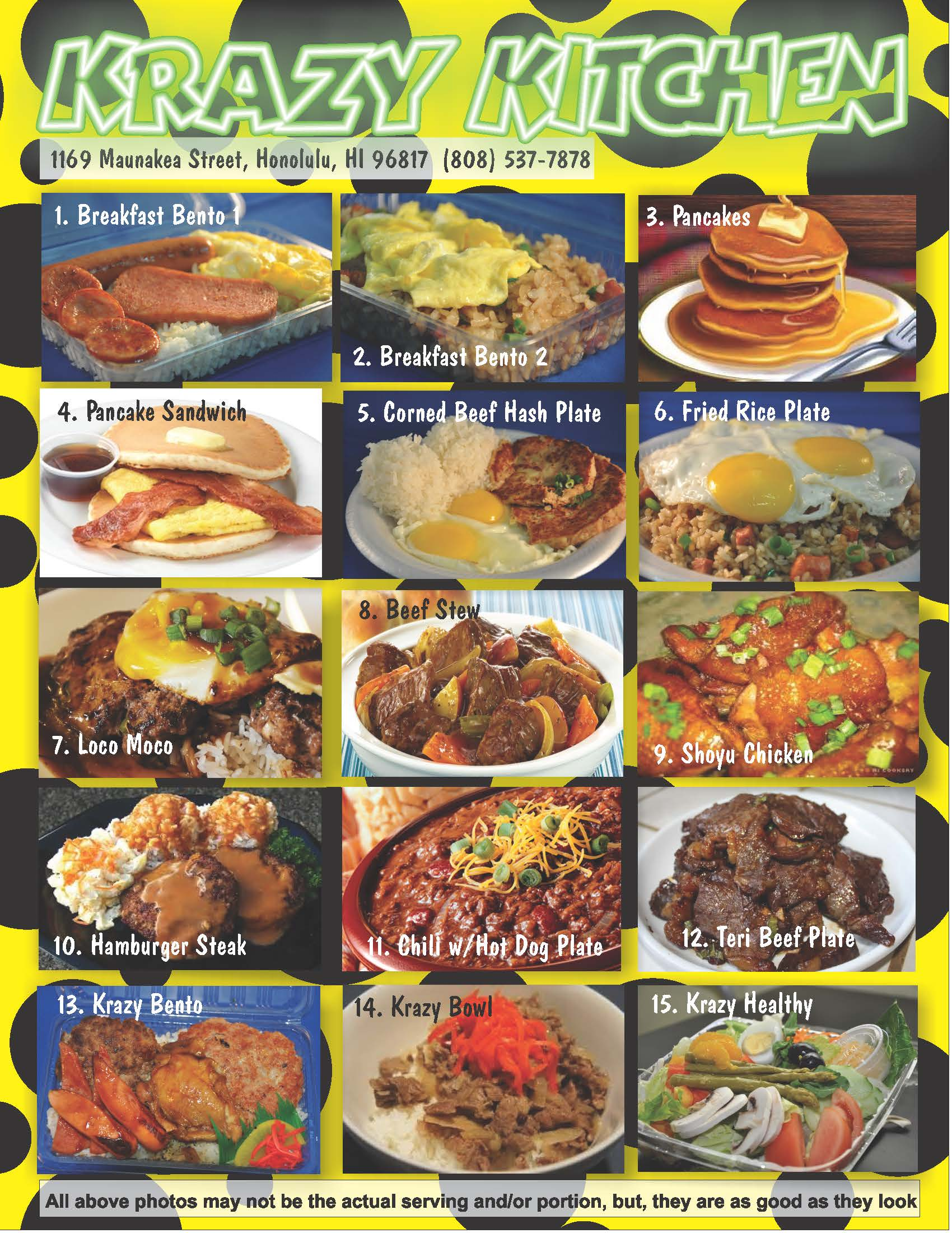 Krazy Kitchen standard menu back