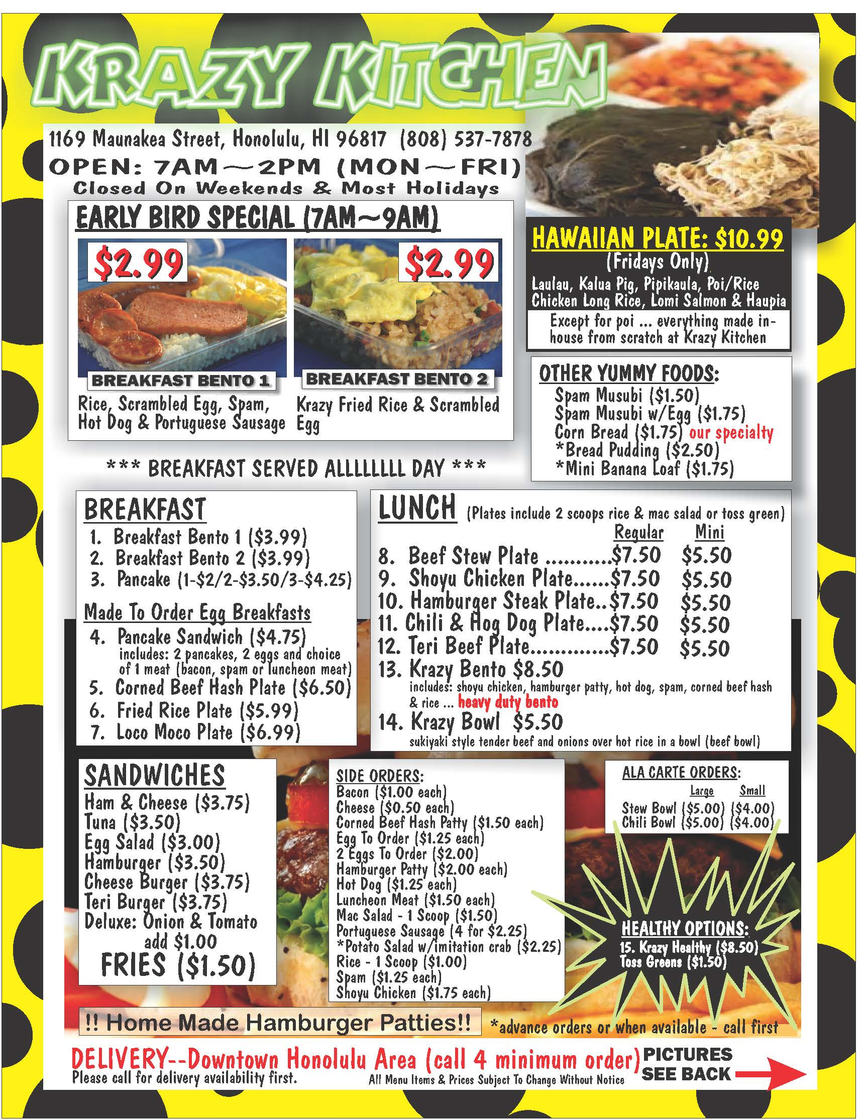Krazy Kitchen standard menu front