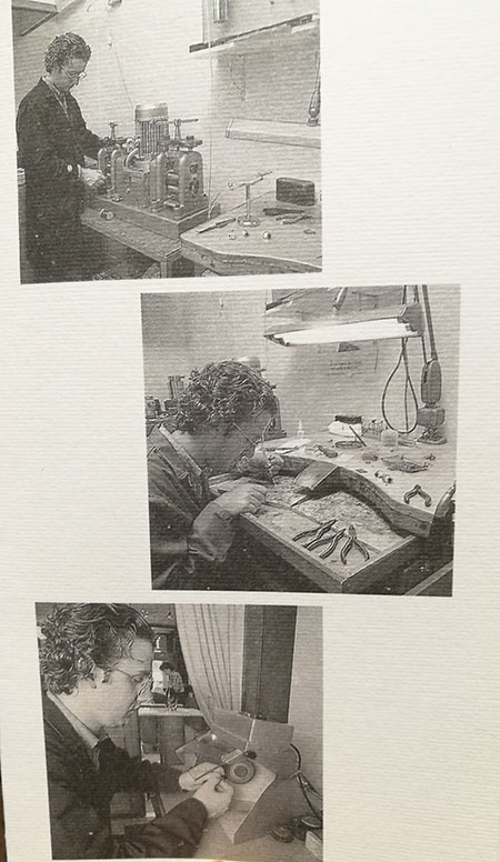 tre foto in bianco e nero di un orafo al lavoro