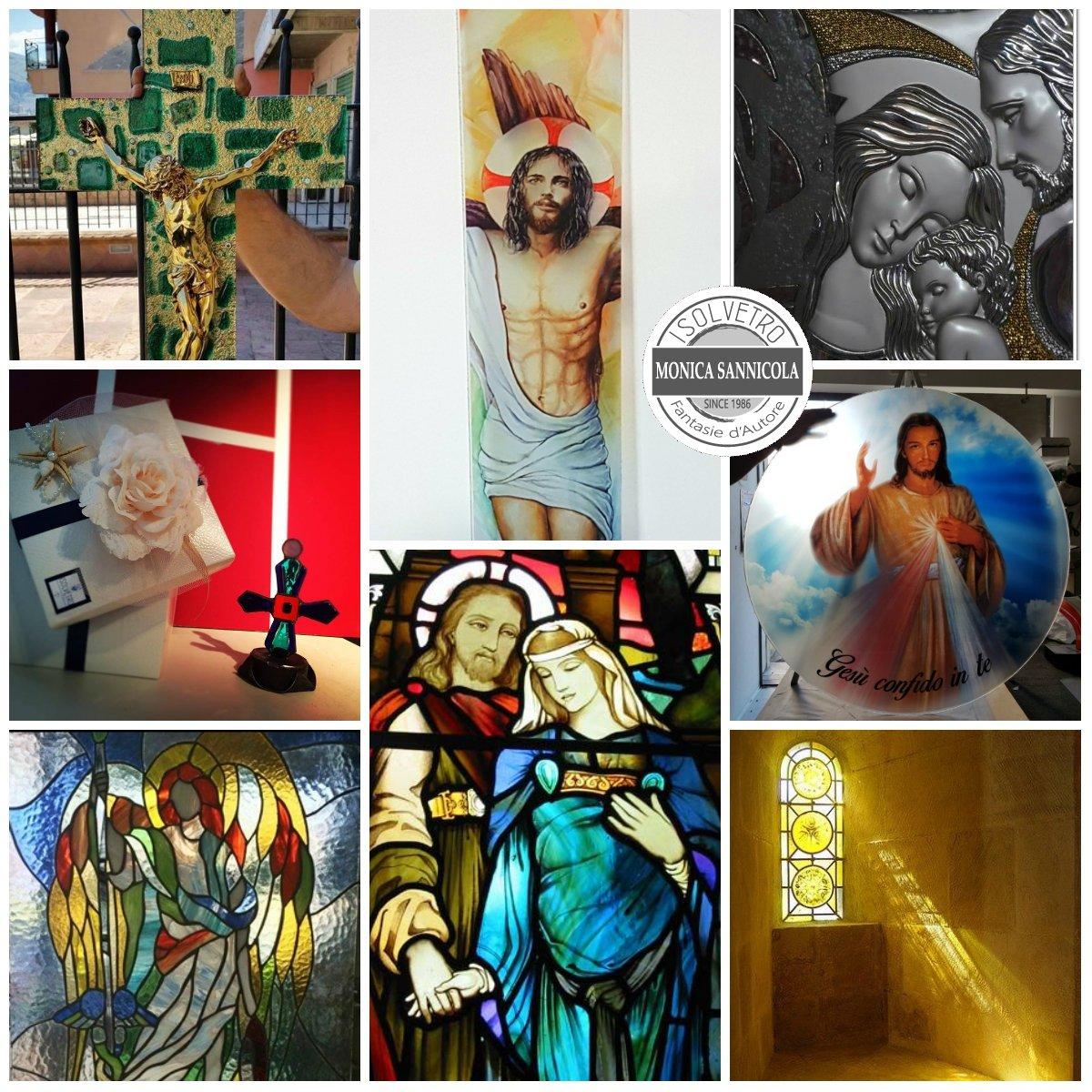 vetrate colorate con immagini sacre, croci e sacri