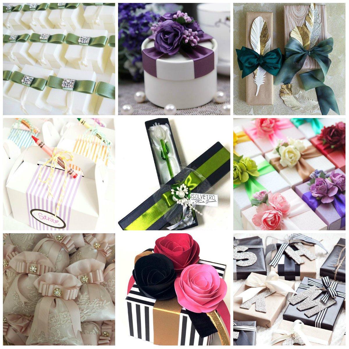 bomboniere di varie forme, colori e materiali