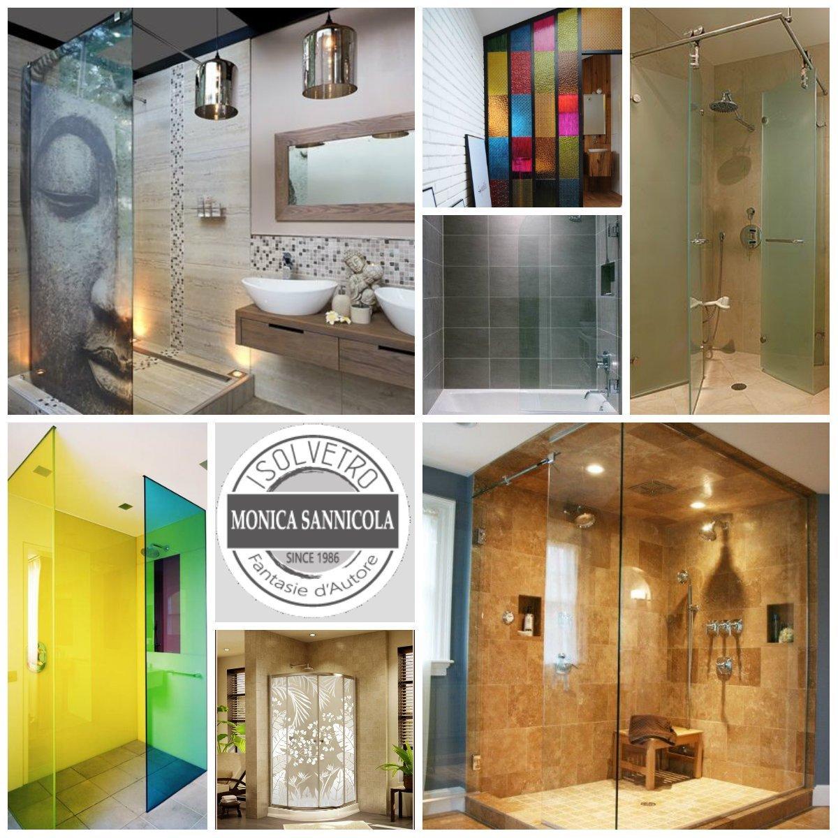 immagini di docce con vetro classico, colorato o con fantasia