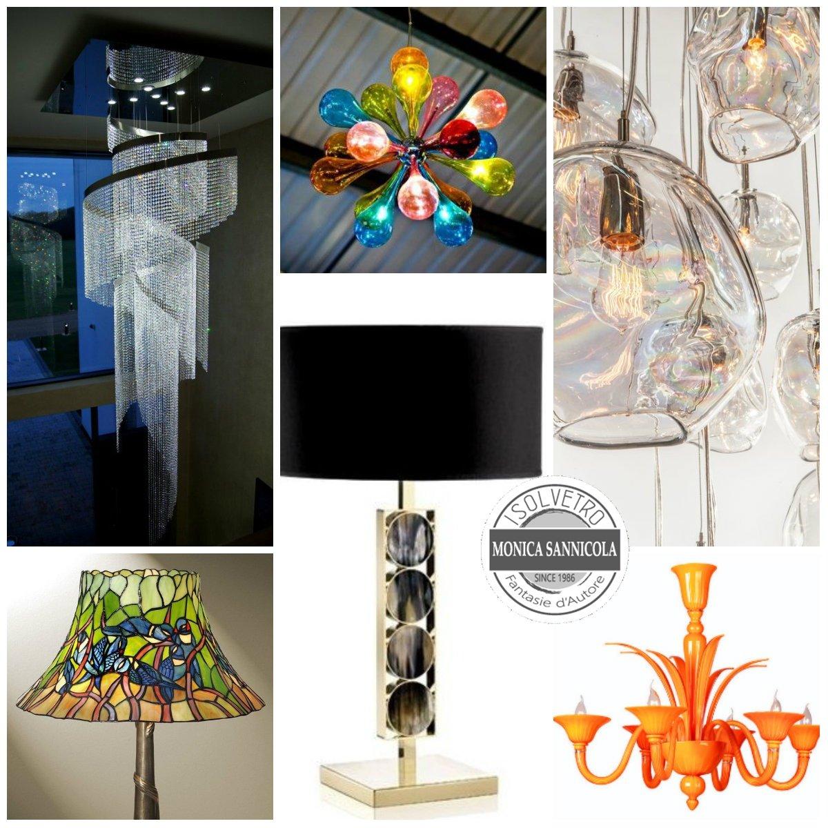 lampadari di varie forme, materiali e colori