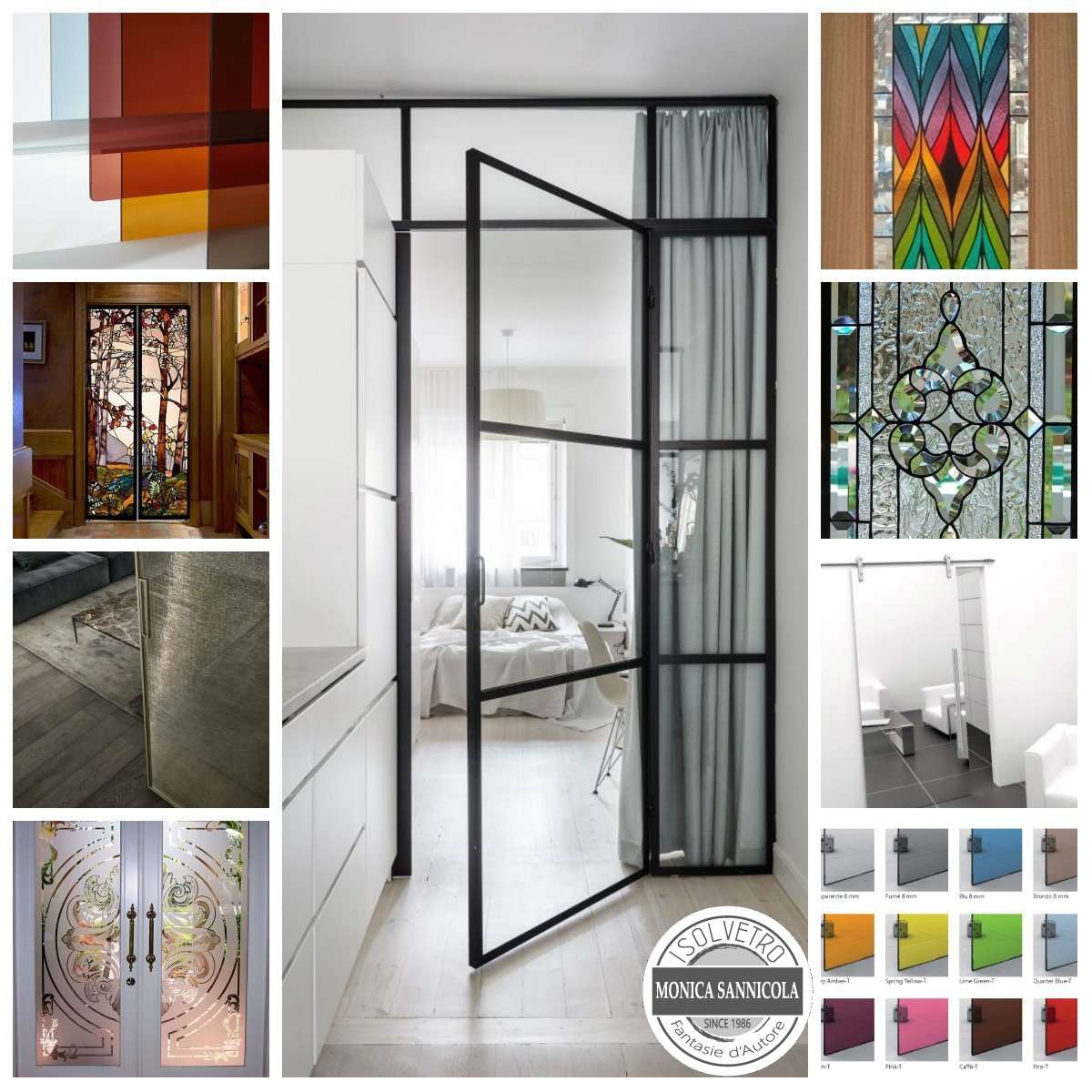 vari tipi di porte in vetro, con fantasie o colorate
