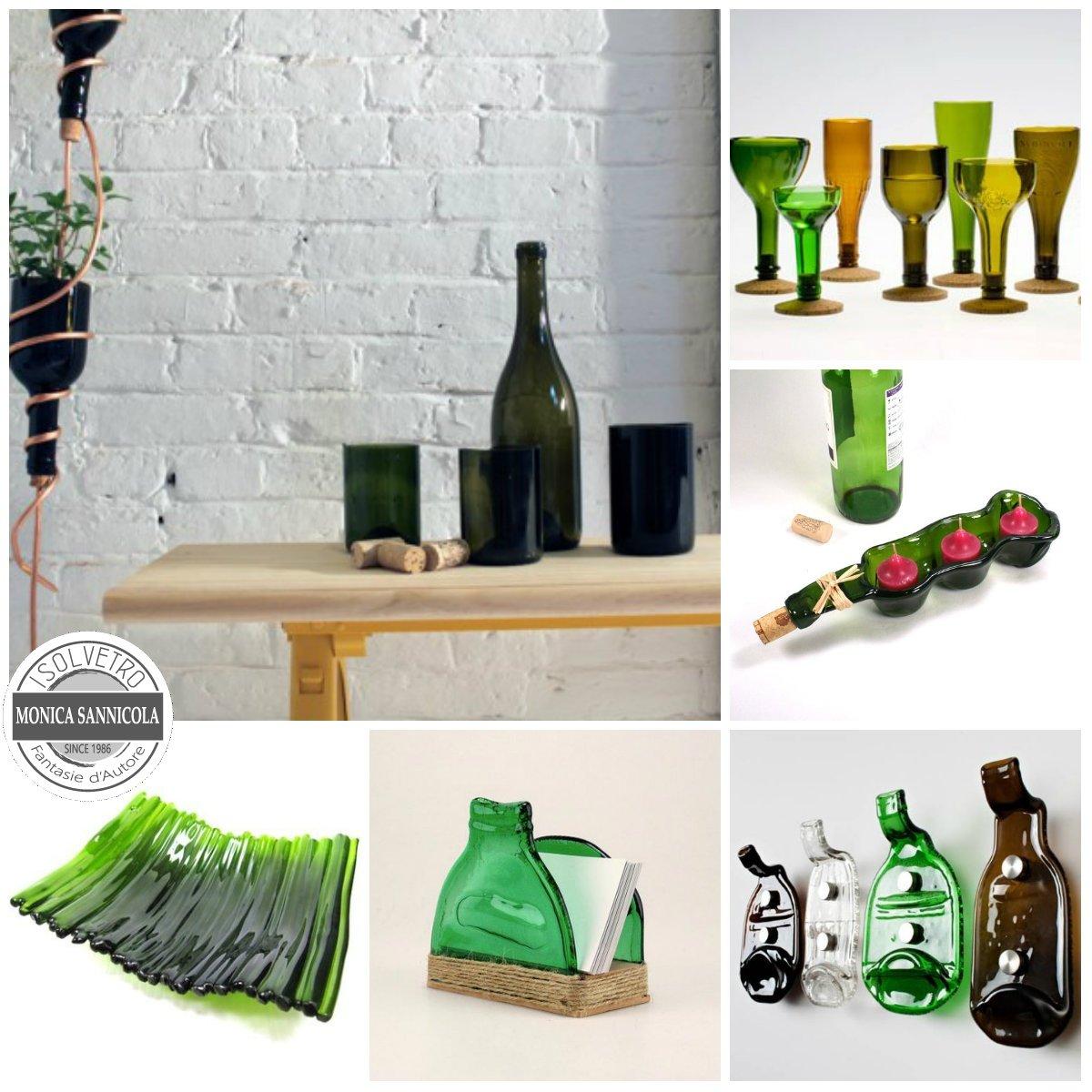 bottiglie reciclate e modellate per essere bicchieri, appendiabiti, vasi, ecc