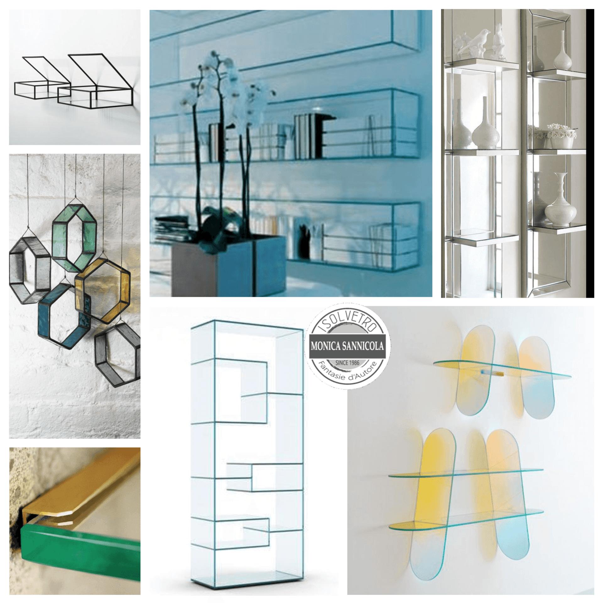vari tipi di scaffali in vetro trasparente o colorati