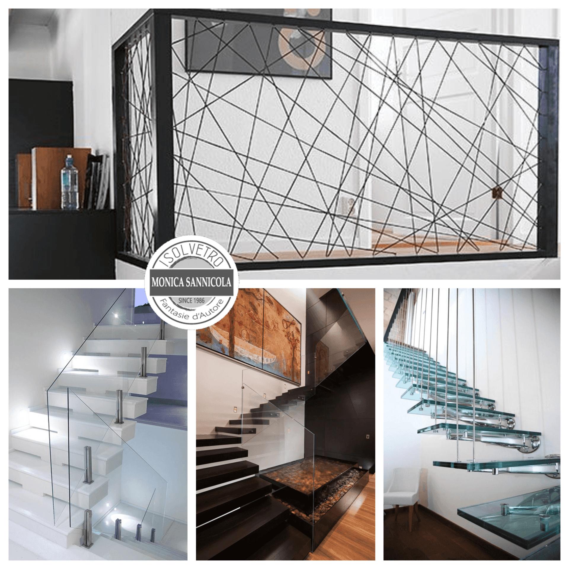 scale e ringhiere in vetro e ferro