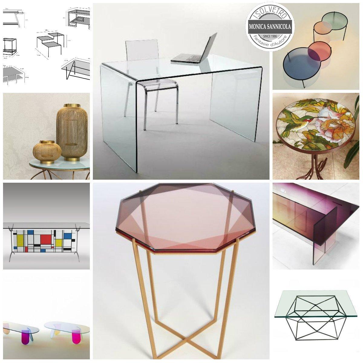 tavoli in vetro di vari colori e forme