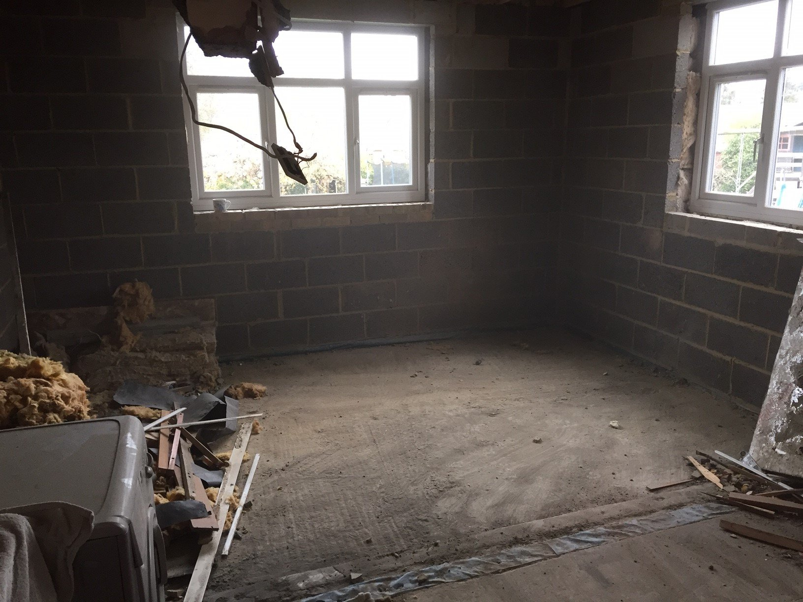 room after the removal of construction waste