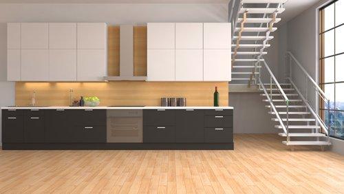 bancone di una cucina moderna in legno con scala interna e pavimento in legno