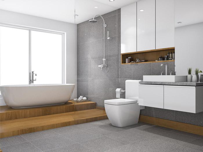 bagno moderno con vasca, bide, lavabo e oggetti da bagno