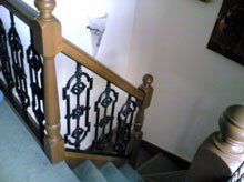 wooden staircase grille