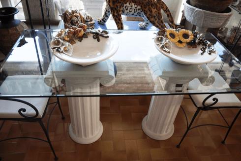 tavolo cristallo capitelli
