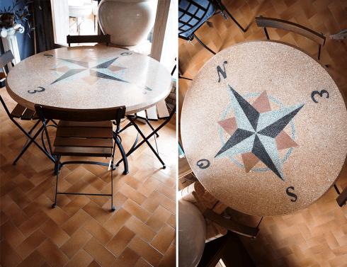tavolo mosaico rosa dei venti
