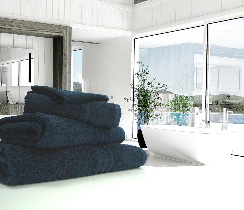 Navy dark blue towels