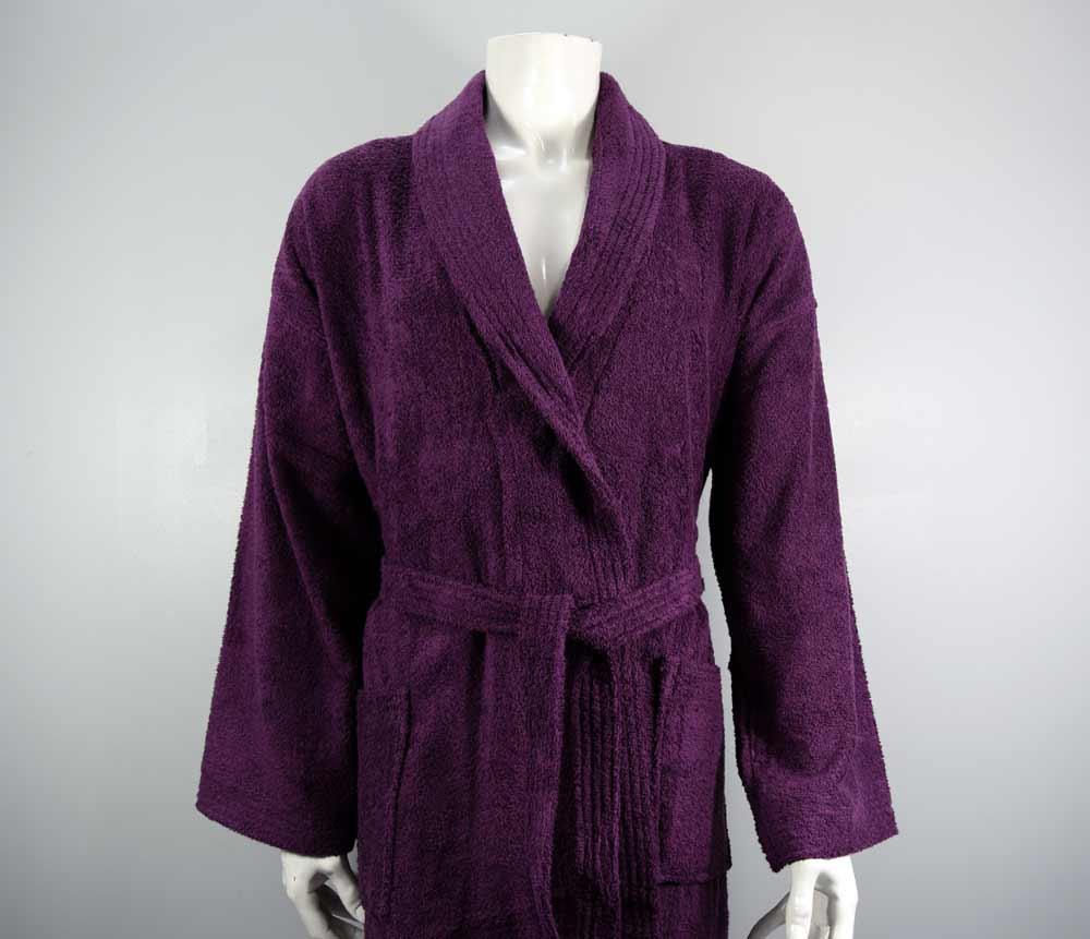 Aubergine purple bathrobe
